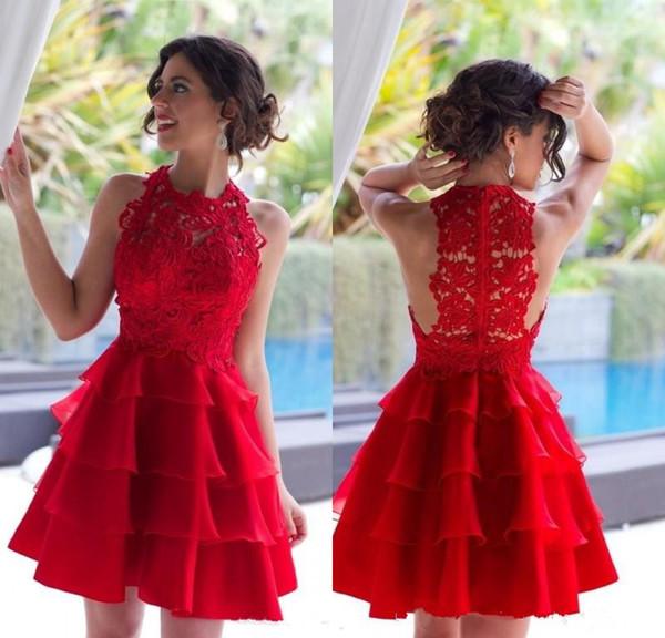 Großhandel 2017 Charmante rote Cocktailkleider Vintage Lace kurze ...