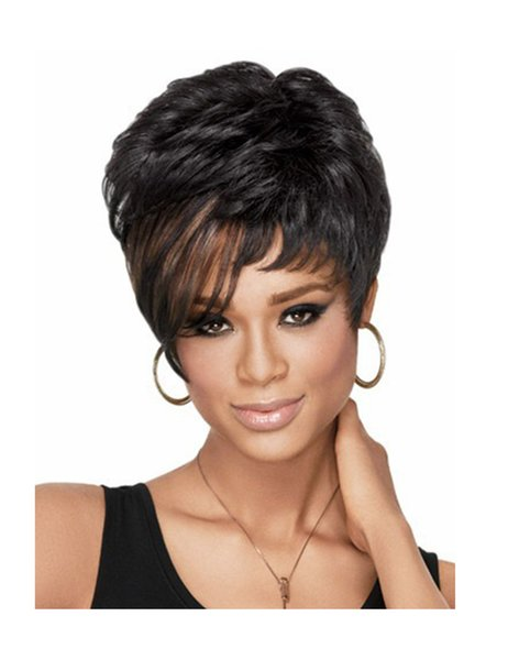New Heat Resistant High Quality Double Colors Ombre Short Curly Hair Fashion Synthetic Wigs For Black Women Peruca Peluca