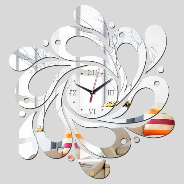 Wholesale-2015 free reloj de pared clocks shipping new real rushed clock watch home decoration Wall Stickers Mirror Acrylic Living Room