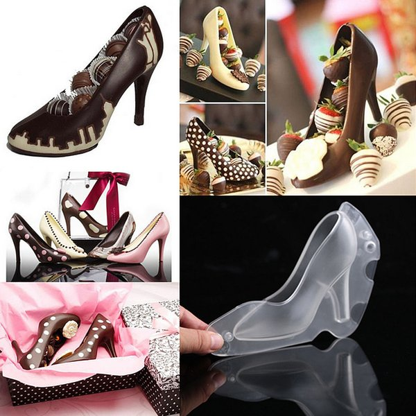 3D High Heel Shoe Baking Chocolate Candy Cake Cookies Mould Decorating PC Bundle Ice Soap Mold Kitchen Tools Transparent