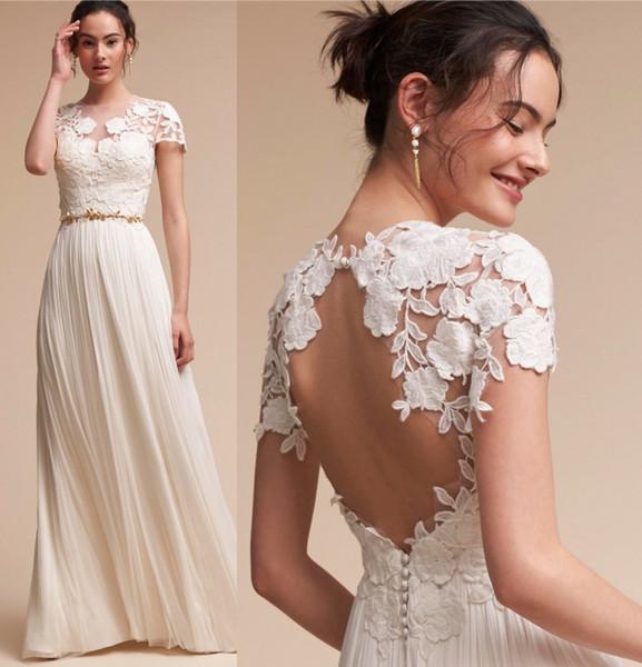 best selling New Arrival Lace Cap Sleeves Sheath Wedding Dresses Empire Waist A Line Summer Beach Boho Bridal Gowns Floor Length Key Hole Backless