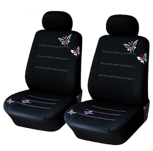 best selling 4pcs set Car front Seat Cover sets Universal Fit SUV sedans elastic washable breathable black Butterfly