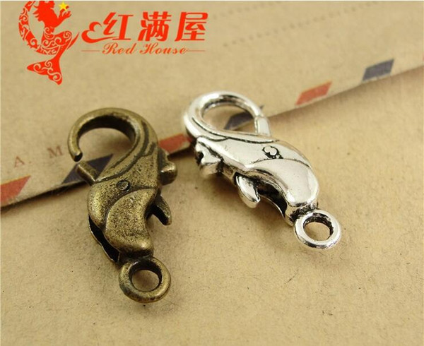 24*16MM Antique Bronze alloy Dolphin charm lobster clasp for bracelet, vintage silver jewelry clasp for necklace, metal key ring holder hook