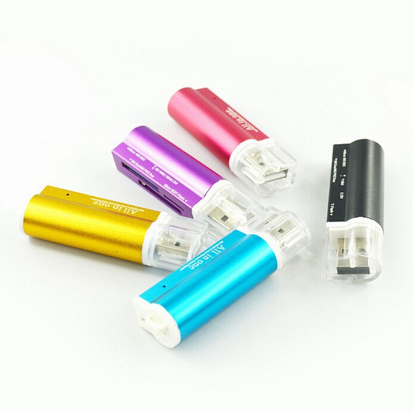 top popular 500pcs Lighter Shaped All In One USB 2.0 Multi Memory Card Reader for Micro SD TF M2 MMC SDHC MS Free DHL 2021