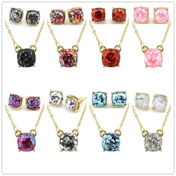 Opal Glitter Gold Rainbow Square Kate Style Stud Earrings Necklace Set New York Women Fashion Jewelry