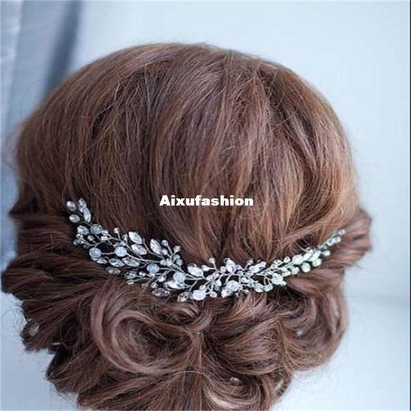 Wedding Hair Accessories Clips Copper Crystal Pearl Flower HairPin Rhinestone Tiara Bridal Crown Hair Pins Bride Hair Jewelry