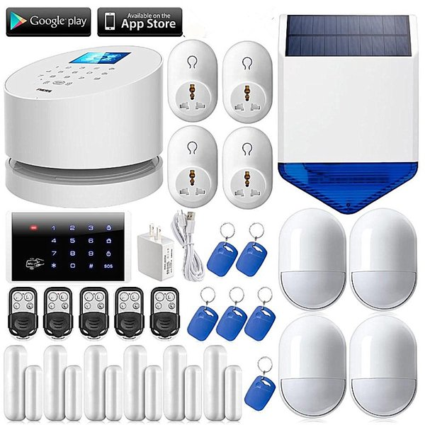 LS111- WiFi GSM PSTN home burglar Security Alarm System+Wireless solar outdoor strobe siren+6 door open remind sensor+RFID keypad
