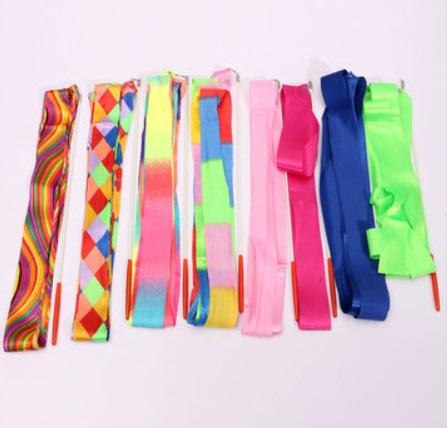 4M Colorful Fitness Art Gymnastic Ballet Streamer Twirling Rod Stick Wand Dance Ribbon Free Shipping