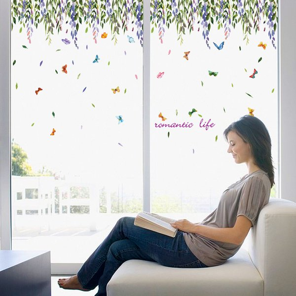 diy Butterfly vines wall stickers living room bedroom bathroom home decoration decals Interior house murals