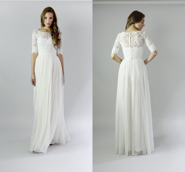 Long Beach Modest Wedding Dresses With Sleeves Lace Chiffon A-line Informal Bridal Gowns With Half Sleeves Floor Length Boho Wedding Gowns