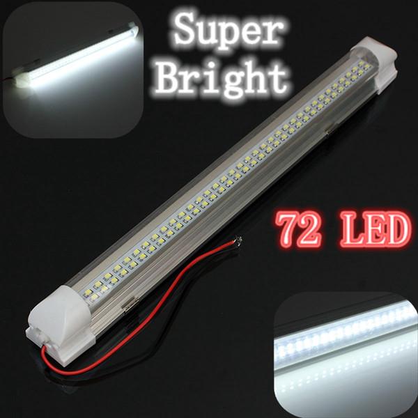 12V Universal Car Auto Caravan Interior 72 LED White Light Strip Bar 340MM Lamp ON/OFF Switch