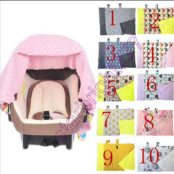 top popular INS Multifunctional Fox Nursing infant car seat Cover Chevron Zigzag Cotton Baby Carrier shade cloth Baby Car Seat Canopy baby blanket 2021