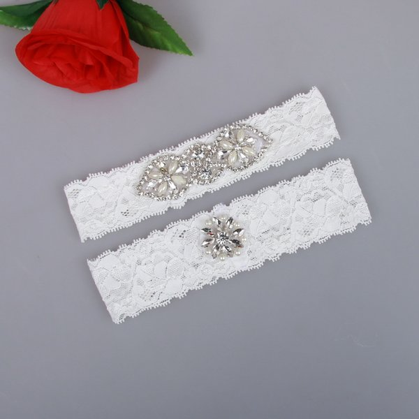 Real Picture Pearls Crystals Bridal Garters for Bride Lace Wedding Garters Free Shipping White Ivory Cheap Wedding Leg Garters In Stock