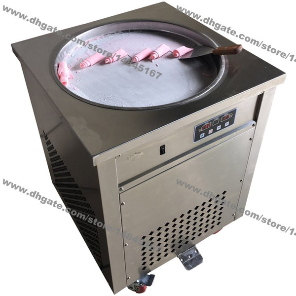 Free Shipping Stainless Steel 110v 220v Electric 50cm Thai Fry Pan Ice Cream Rolled Yogurt Machine Fried Ice Cream Roll Maker