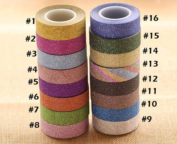 best selling 1.5cm   10M Glitter Washi Sticky Paper Masking Adhesive Tape Label Craft Decorative DIY Free Shipping 2016