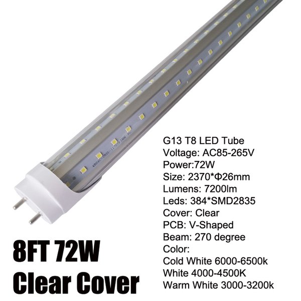 8Ft 72W V-Shaped Clear Cover
