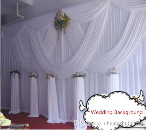 DHL Fedex frete grátis 10ft * 20ft branco cortina de casamento com guirlandas romântico cenário de cenários de casamento decoração