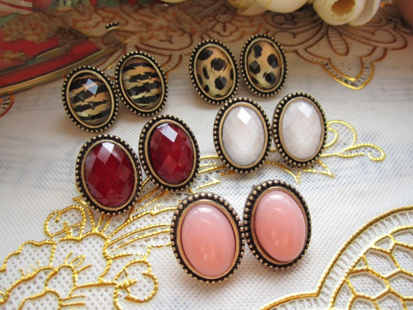 Vintage Sexy Oval Leopard Stud Earrings Crystal Gemstone Jewellery Women New Stylish factory price xmas gifts 60pair
