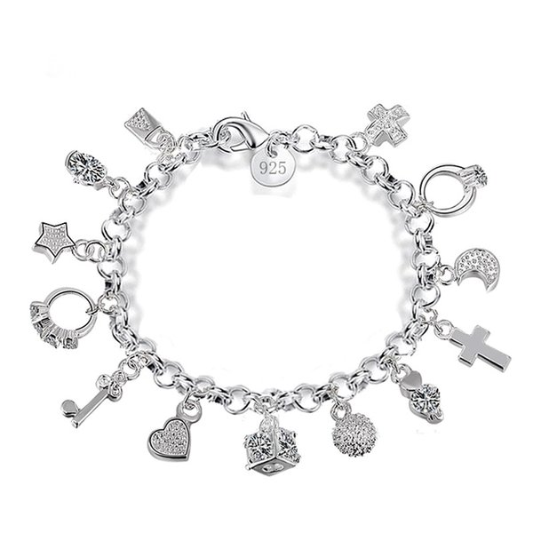 Luxury 925 Sterling Silver Plated Charms Bracelets With Love Cross Ring Moon Star Key 13 Pendants Bracelet For Women Gift Box Jewelry