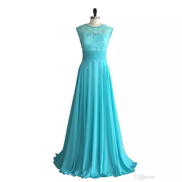 Turquoise Lace Chiffon Bridesmaid Dress Long 2019 Scoop Neck Country Wedding Formal Dresses Floor Length Evening Dresses