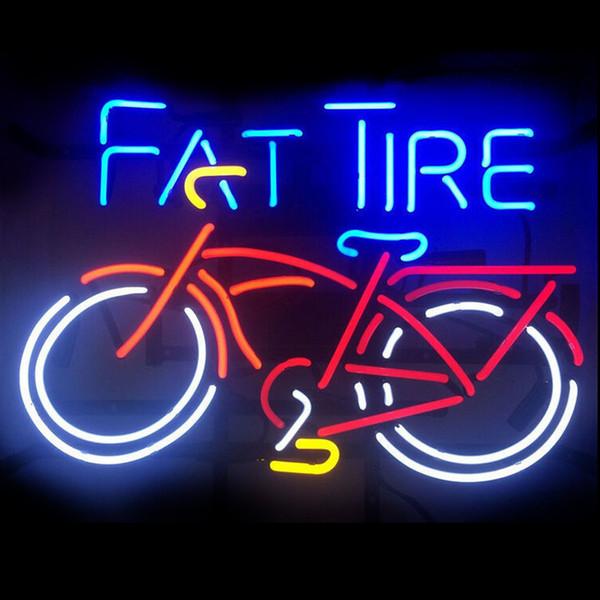 New Handcraft Fat Tire Bicycle Bike Tubi di vetro reali Birra Bar Pub Display al neon segno 19x15 !!! Migliore offerta!