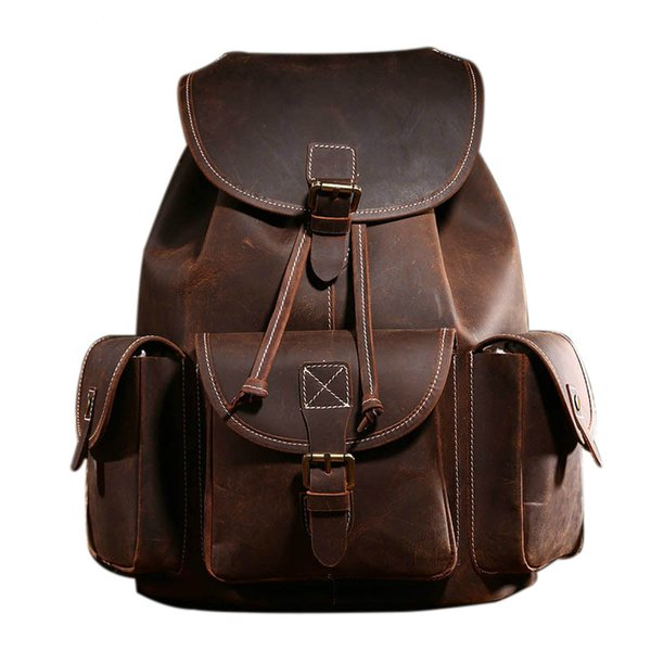 Free Shipping New Full Crazy Horse Genuine Cowhide Skin Leather Men Women's Travel Backpack School Student Day BackPack Notebook Laptop Bag