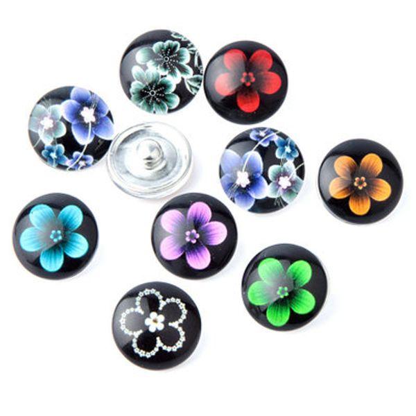 20pcs multi bottone a scatto di vetro dei fiori di colore per i gioielli della collana del braccialetto di fascini di fascino di Ms DIY di 18MM