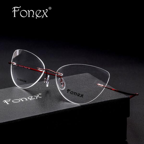 All'ingrosso 2019 Vintage moda per le donne Cat Eye Rimless Occhiali donne Optical Memory titanio occhiali miopia Eyewear Silhouett