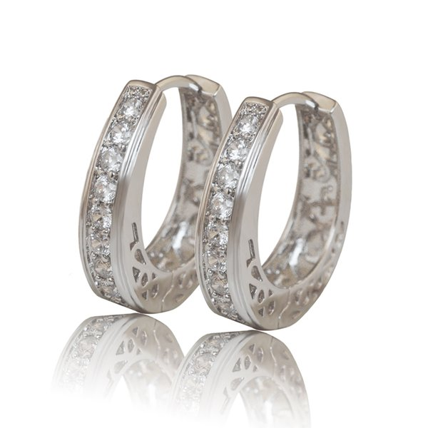 (384E) Hoop Earrings Jewelry White Gold Filled Women Hollow Style Clear Stone Top Quality