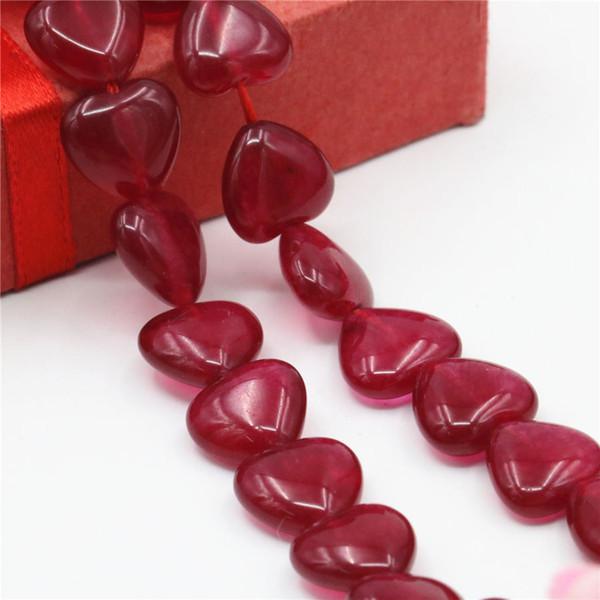 12mm Accessoires Rouge cristal Artisanat Lâche Diy Perles Coeur Jasper Jade Bijoux de Pierre En Cristal 15 pouces Filles Cadeaux De Noël
