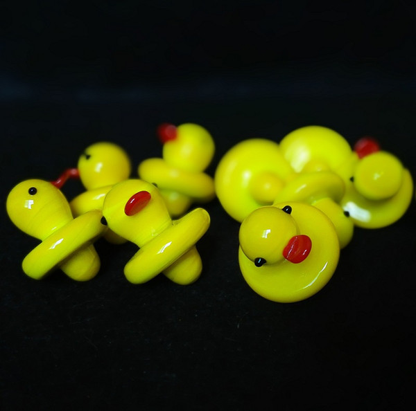 Wholesale Duck UFO Carb Cap Solid Colored Glass Yellow Duck dome 24mm for 4mm Thermal P Quartz banger Nails water pipe bongs in stock