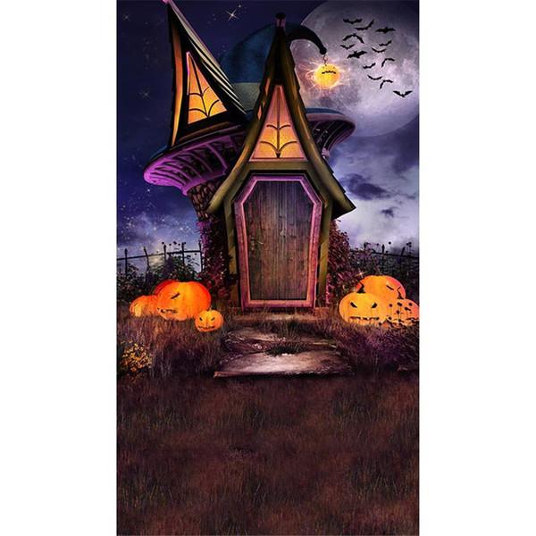 Crianças dos desenhos animados cenários de fotografia Halloween Pumpkin lanternas céu noturno lua cheia Castelo Vintage escadas ao ar livre crianças foto de fundo