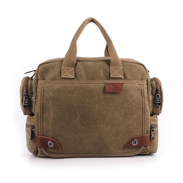 Wholesale- Vintage Crossbody Bag Brand Canvas Shoulder Bags Men Messenger Bag Men High Quality Handbag Tote Briefcase