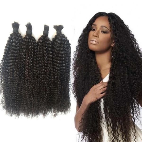 Afro Kinky Curly Bulk Hair 4 Bundles Natural Color Brazilian Human Braiding Hair Bulk No Weft 8-28 inch FDSHINE