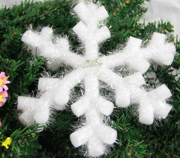 Enfeites de festa de Natal Pendurado Snowflakes Teto Branco Glitter Planar Enfeites de Floco De Neve Na Corda Cabide Para Decoração