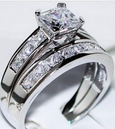 14K White Gold 2.50ct Princess Man Made Simulation Diamond Engagement Ring