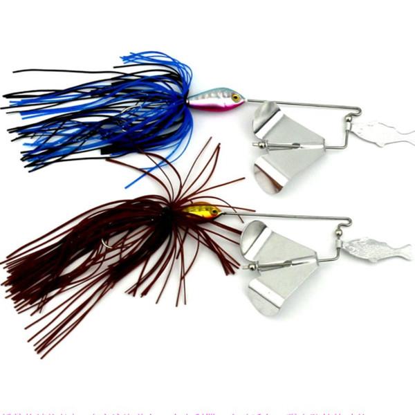 2PCS Water Series Fishing Lures 16G Skirt Willow Leaf Spinnerbaits Beard Guy Fishing Baits or Hard Metal Baits and Jigging Heads Hooks