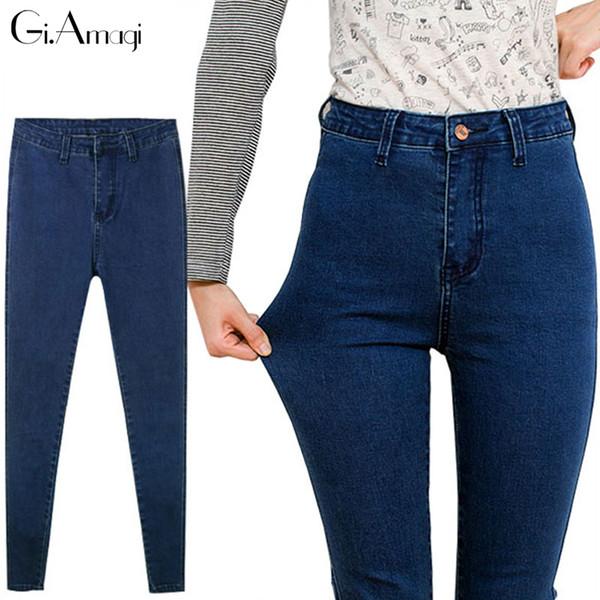 All'ingrosso-2017 Nuove donne di moda pantaloni, più dimensioni Stretch Skinny Jeans a vita alta Pantaloni donna Matita blu Casual Slim pantaloni in denim P038