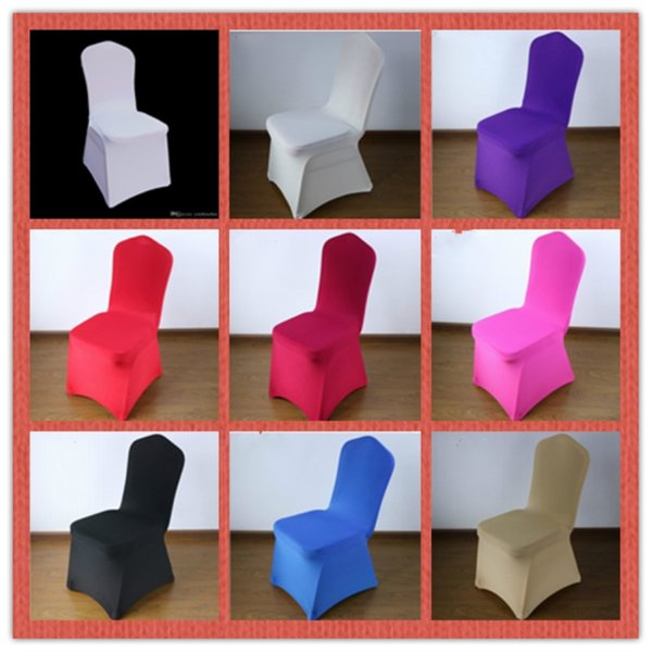 100 PCS Stretch Elastic Universal Spandex Wedding Chair Covers for Weddings Party Banquet Hotel Lycra Polyester Fabric