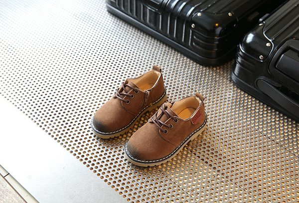 top popular 2017 Children Casual Shoes Child PU Leather Sport Shoes Retro Style Child Kids Vintage Leather Martin Boots Baby Sneakers 2019