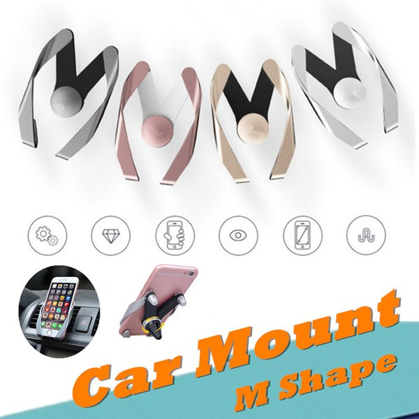 Universal M Shape design Air Vent Car Mount Cell phone Holder Phone Stand For Iphone 7 6s 8 plus for Samsung s8 note 8 Sony HTC