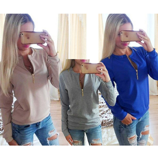 Wholesale-2016 Autumn Fashion O Neck Women Long Sleeve T Shirts Front Zipper Sexy Tops Tees Lady Warm Solid Color T-Shirts Pink Gray Blue