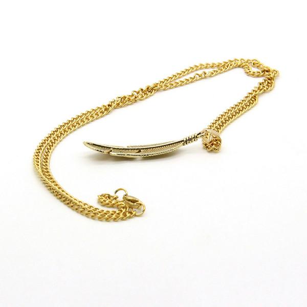 Collana pendenti in piume placcate oro catena in lega di acciaio inossidabile 10pcs all'ingrosso placcato oro e argento