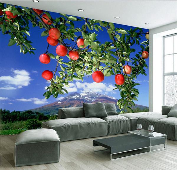 Custom Photo Large mural oil painting apple forest fresh pastoral wallpaper custom TV backdrop wall wallpaper