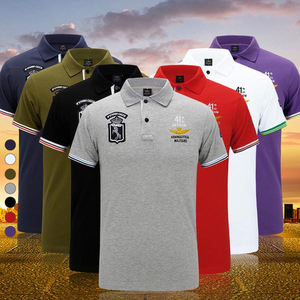2017 Nuevos Hombres de la Marca Ropa Polo Sólido Camisa Transpirable Delgado de Manga Corta Antiarrugas Homme Air force one Polo Shirt