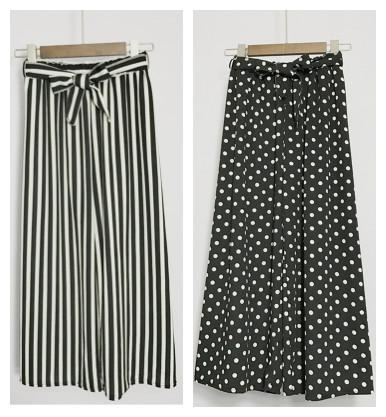 2017 New fashion women's high waist elastic waist loose palazzo stripe polka dots dotted casual ninth long pants wide leg pants S M L