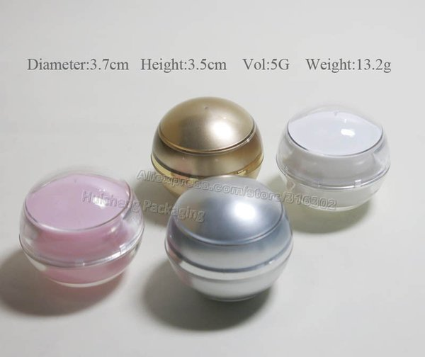 Al por mayor-24pcs / lot 5G Actylic Ball Jar, 5cc acrílico cosmético contenedor, vacío Cream Jar, Cosmetic Packaging