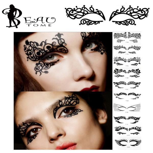 All'ingrosso- Beautome 1PC Moda Pizzo Hollow Eye Shadow Face Stick Eyeliner Adesivi Tatuaggi temporanei Makeup Art Pat Costume Party discoteca