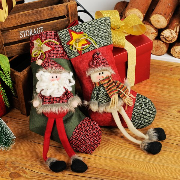 2Piece /Lot New 2016Hot Sale Christmas Stocking Sequins Socks Xmas Tree Oranment Gift Bag Santa