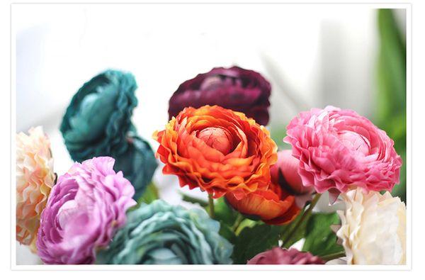 50pcs MOQ 9colors Realistic Spring Artificial Lotus Silk Flower Peony Arrangement Wholesale weddding or Home Room Charming Decoration